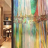 Stained Glass Frosted Window Film Multicolored Removable Window Sticker Anti-UV Glass Film Abstract 3D Texture Geometric Flower 35.4 x 78.7 in