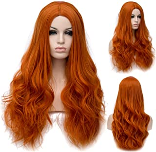 Long Orange Wavy Wig for Girls Women,Winshope Curly Natural Heat Resistant Synthetic Hair Wigs for Cosplay Costumes Halloween Party (Include Wig Cap)