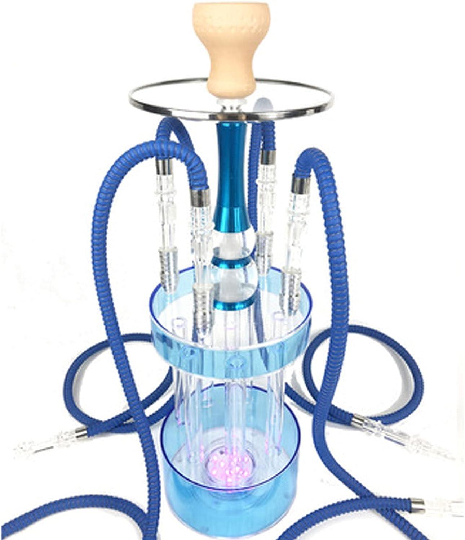 Huka Khalil Mamoon - Juego de shisha de acrílico, 4 tubos de silicona, juego completo de cachimba con LED claro Gatlin moderno Premium Cafe Bar Party