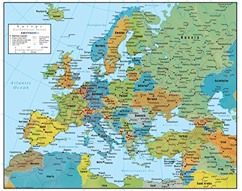 Swiftmaps Europe Wall Map GeoPolitical Edition (18x22 Paper)