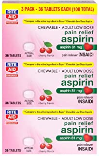 Rite Aid Low Dose 81 mg Aspirin, Chewable Tablets, Cherry Flavor, 3 Bottles, 36 Count Each (108 Count Total) | Pain Reliever
