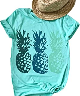 Funny Cute Graphic Pineapple Tee Shirt for Women Summer Beach Loose Casual Short Sleeve Tops Blouse