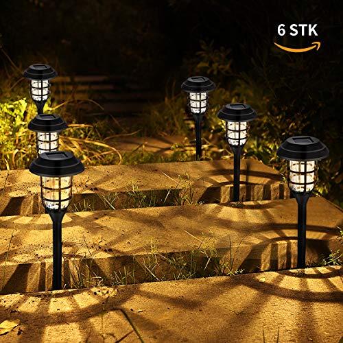 Görvitor Solarleuchten Garten, 6 Stück LED Warmweiß Solar Gartenleuchte für Außen Deko, IP65 Wasserdicht Solarlampen für Außen Garten Terrasse Rasen Garten Hinterhöfe Wege