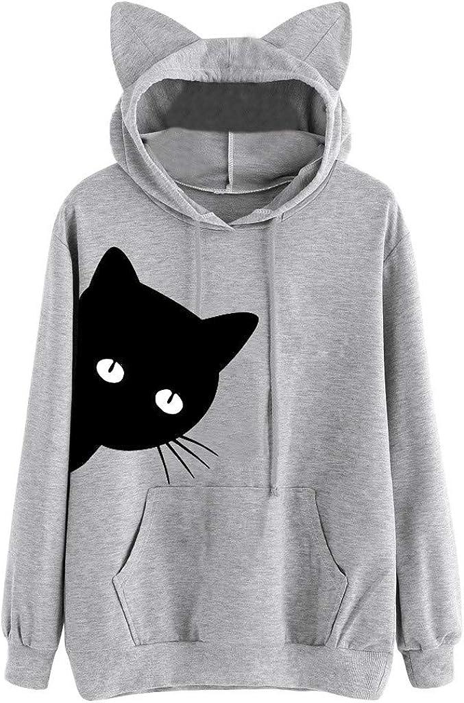 Girls' Hoodie, Misaky Pullover Sweatshirt Jumper Casual Cartoon Cat Print Long Sleeve Hoodie Blouse Tops