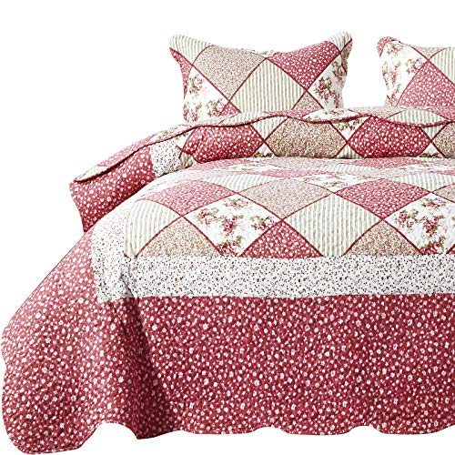 ENJOHOS 3-Piece Queen Size Quilt Set with Pillow Shams Pink Floral Patchwork Quilt Lightweight Reversible Bedspread for Queen Bed Korean Pink Flower Country Daybed Bedding Set (Pink Flower Plaid 3)