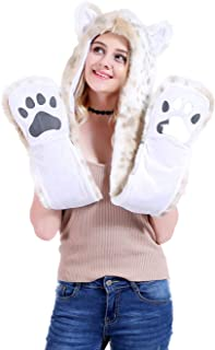 FHQHTH Faux Fur Animal Hood with Paws Fuzzy Wolf Hats Gloves Scarf 3 in 1 Bear Hats Winter Fashion Halloween Caps