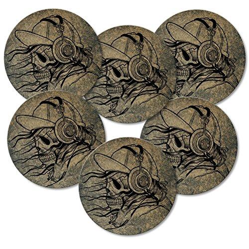 Addies Lot de 6 dessous-de-verre ronds Motif tête de mort avec coffret cadeau transparent et dos en liège