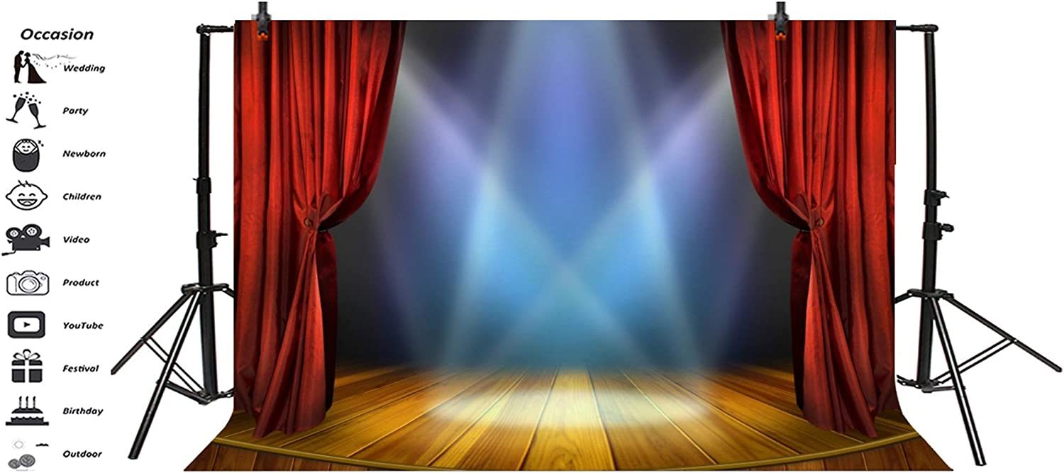 10x7ft Dark Wooden Stage Backdrop Vinyl Faint Light Red Curtain Valance Rustic Grunge Wooden Floor Background Performance Show Award Ceremony Banner Talent Show Openning Ceremony Shoot