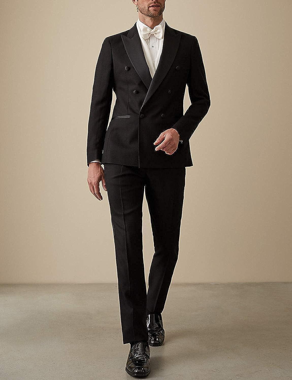 Wemaliyzd Men's 2 Pieces Regular Fit Tux Suit Double Breasted Blazer Pants