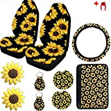 Ldntly 10PCS Sunflower Accessories for Car Wheel Cover,2PCS Car Front Seat Covers,Sunflower pattern center pad cover,2PCS Car Cup Holder Coaster and 2PCS Sunflower Keyring,2 PCS Car Vent Sunflower