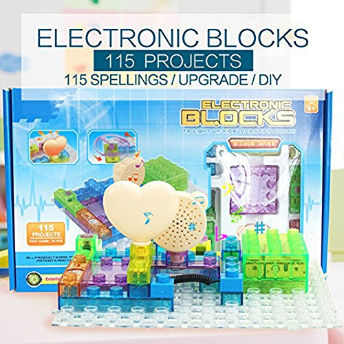 Circuit Board for Kids with Lighted Bricks 115 Different Projects in 1,Smart Circuit Kit Electronics for Kids 6-14,Science Exploration Kits Kids Circuit Building Set Blocks,Circuits for Kids(34pcs)