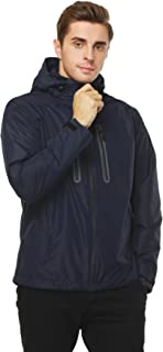 MIER Men's Rain Jackets Waterproof Outdoor Jackets with Hideaway Hood, Front Zip