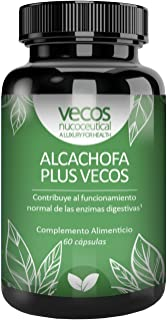 Alcachofa Plus Vecos 60 cápsulas- 1680 mg extracto seco por dosis enriquecida con Calcio. Ayuda a mantener un buen proceso digestivo y a la eliminación