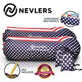 Nevlers Inflatable Lounger with Side Pockets & Matching Travel Bag - 2 Pack - American Flag Design - Waterproof and Portable - Great & Easy to Take to the Beach, Park, Pool, and as Camping Accessories