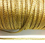Thick Gold Metallic Flat Twisted Braid 1/4' (7mm) Wide -2 mm Thick x 5 Yards