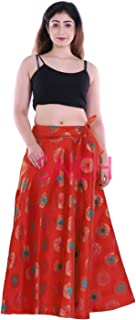 SNEH Women's Brocade Multicolor Gold Print Skirt (Red,Free Size)