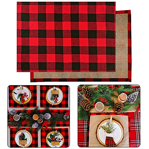 4 Set Red and Black Placemats Buffalo Check Plaid Table Placemats Double Sided Cotton and Burlap Place Mats Washable for Holiday Christmas Thanksgiving Kitchen Table Setting Decorations 20' L x 14' W