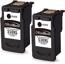 OfficeWorld PG-510XL Remanufacturado Canon PG-510 Cartuchos de tinta Compatible con Canon Pixma MP240 MP250 MP260 MP270 MP272 MP280 MP330 MP480 MP490 MP495 MX320 MX340 IP2700 IP2702 (2 Negro)