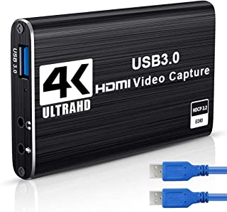 Placa de captura de áudio e vídeo 4K, USB 3.0 HDMI Placa de captura de jogos com HDMI Loop-Out 1080P 60FPS Dispositivo de ...