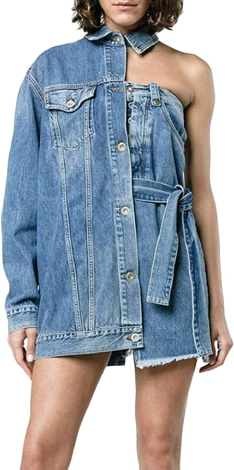 Joe WenkoCA Womens Cut Off Pocket One Shoulder Lapel Neck Buttons Belt Irregular Denim Jackets