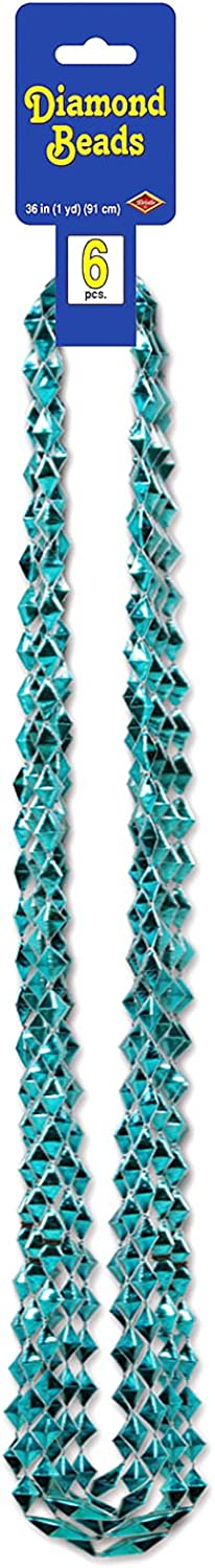 Beistle 54590T Diamond Beads, 36Inch, Count6, Turquoise