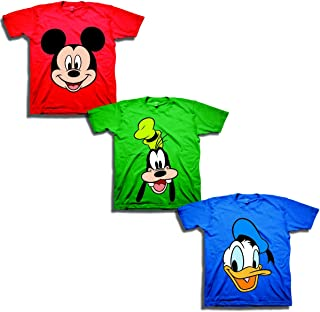Disney Boys' Toddler' Mickey, Goofy, Donald 3-Pack T-Shirts