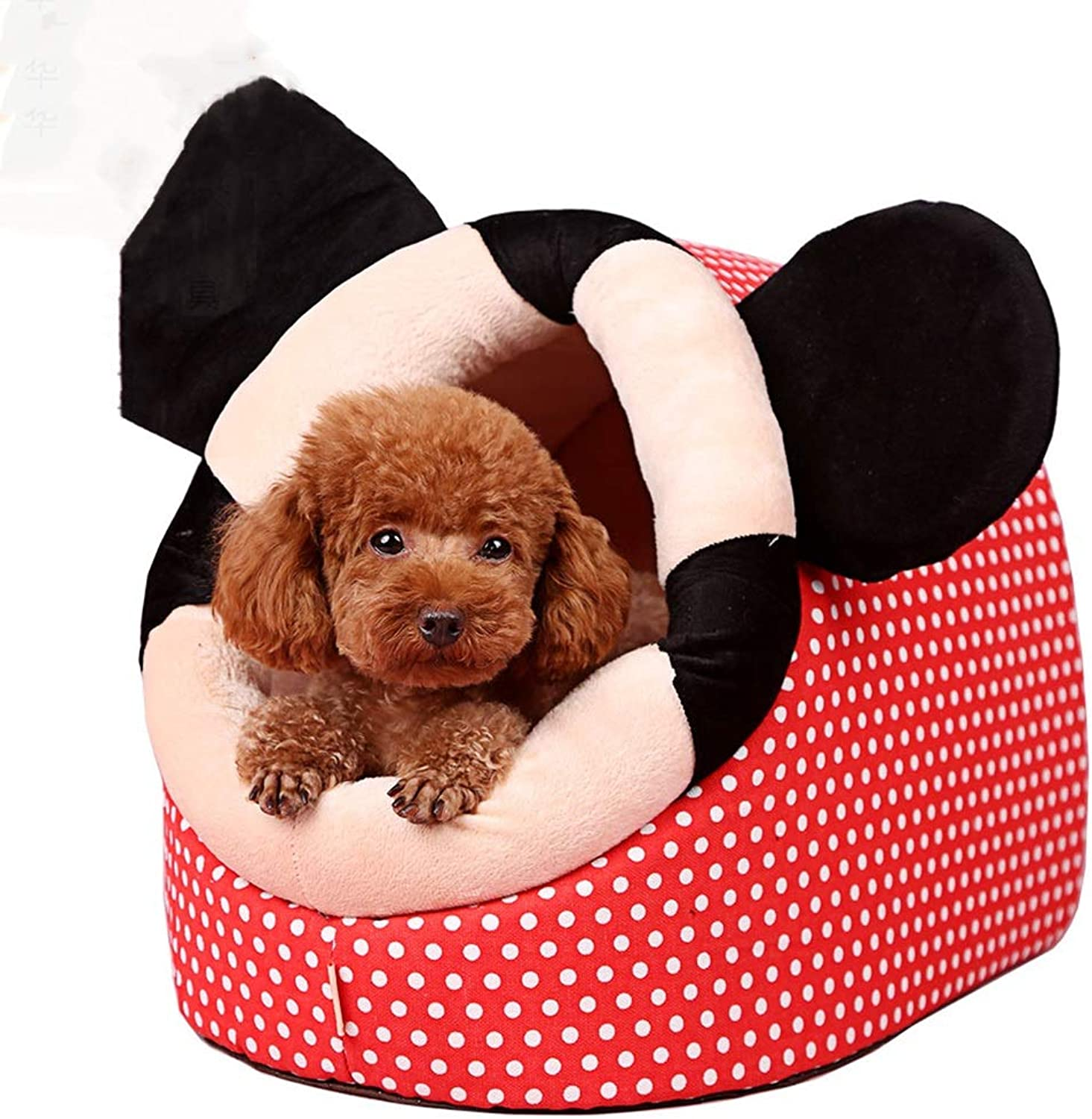 DQMSB Kennel SemiClosed Dog House Small Pet Winter Pet Warm Deep Sleep Room pet Bed (Size   M52  40cm)