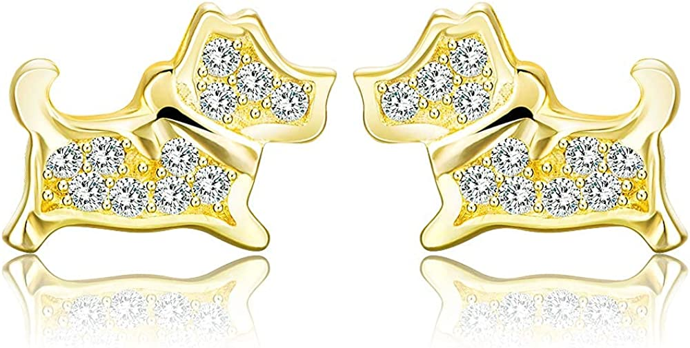 Yiluana Earring Stud with Full Shining Cubic Zirconias Stud Earrings for Women and Girls
