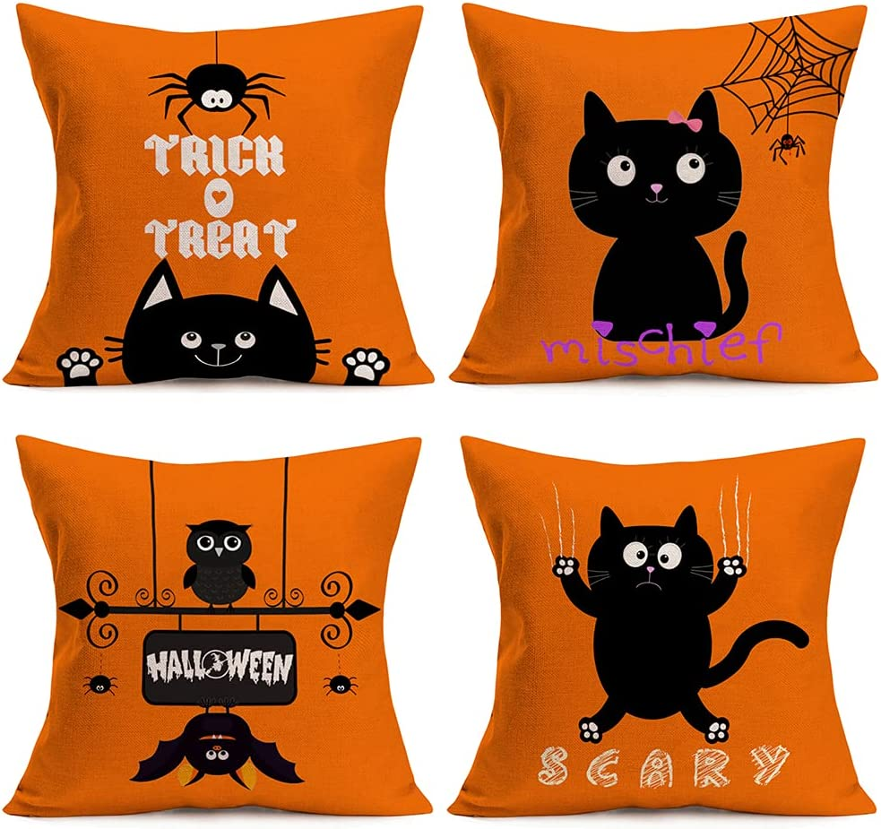 Qinqingo Halloween Trick or Treat Pillowcase Set of 4 Lovely Animal Adorable Funny Cat Decorative Throw Pillow Cover Cotton Linen Cushion Case for Sofa Couch Home Decor 18