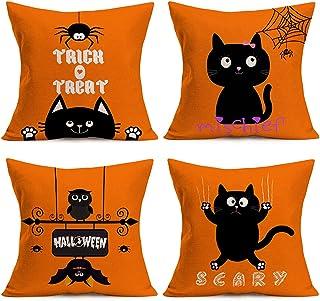 Doitely Happy Halloween Orange Throw Pillow Covers Cotton Linen Cute Cartoon Black Cat Decorative Cushion Cover Bat Web Sp...