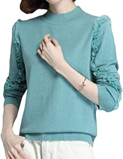 Womens Casual Pullover Round Neck Elegant Top Loose Knitted Long Sleeve Lace Side Sleeve Sweater