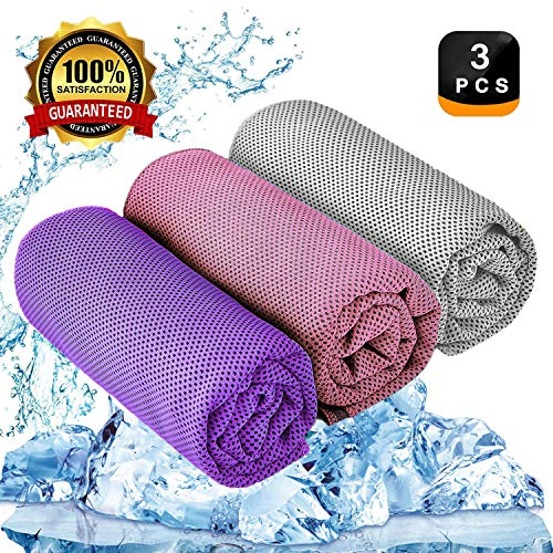 YQXCC Kühlendes Handtuch 3 Stück Reisetuch 120 x 30 cm Gym Mikrofasertuch für Männer oder Frauen Eiskalte Handtücher für Yoga Gym...