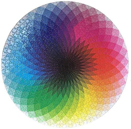 Rompecabezas Redondo Colorido Arco Iris Degradado Rompecabezas de 1000 Piezas para Adultos Imposible Difícil Jigsaw Suelo Rompecabezas Juego
