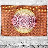 GeeRic Tapiz Pared, Tapiz de Mandala tapices de Pared de algodón Indio, Colcha de pícnic, Manta de Pared, Tapices Decorativos 150 × 230 cm Naranja