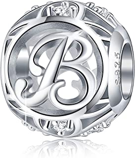Letter Charm Initial A-Z Alphabet Charm Dangle Charm for Bracelet Necklace 925 Sterling Silver CZ Beads Charm Personalized Gift Jewelry