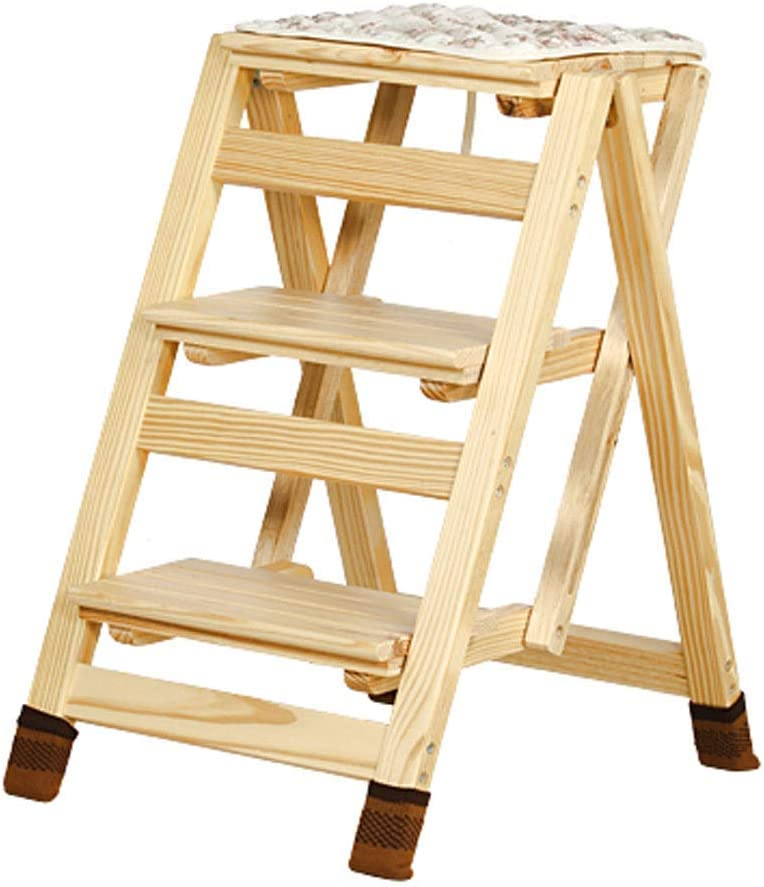 ZJHCC Heavy Duty Step Stool Fold Wooden Portab Steps Ladder Outlet sale Max 55% OFF feature 3 Up