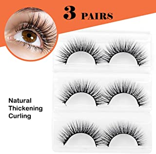 3D Imported Reusable Handmade Dramatic False Eyelashes for Makeup, 100% Natural Soft Long Cure Thick Black Fluffy Luxury Fake Eyelashes, Pack of 3 Pairs