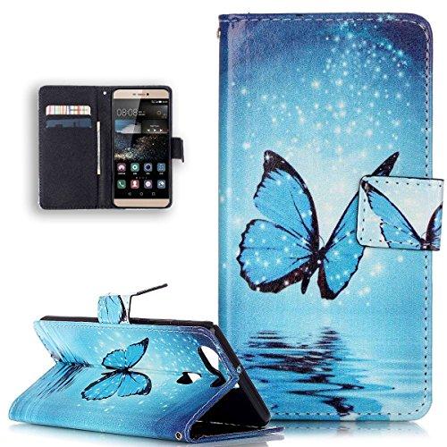 Huawei P9custodia, Huawei P9custodia in pelle, Ikasus Beautiful Painted pattern Flip PU leather fold wallet Pouch case Premium cuoio Flip Case con supporto carta di credito titolari di ID per Huawei P9