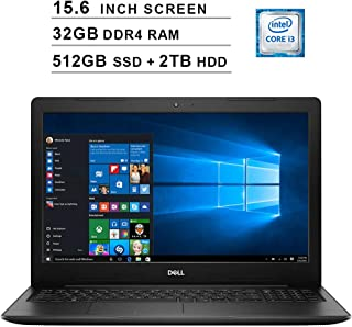2019 Newest Dell Inspiron 15 3583 15.6 Inch Laptop (8th Gen Intel Core i3-8145U up to 3.9GHz, 32GB DDR4 RAM, 512GB SSD (Boot) + 2TB HDD, Intel UHD 620, WiFi, Bluetooth, HDMI, Windows 10) (Black)