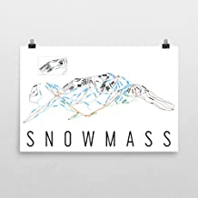 Snowmass Poster, Snowmass Ski Resort Poster, Snowmass Art Print, Snowmass Trail Map, Snowmass Trail Map Art, Snowmass Wall Art Poster, Snowmass Colorado Gift - Size 12