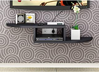 Tv Shelf Console Wall Mounted, 2 Tier Media Console Floating Shelves Organizer Rack for Cable Boxes Routers Remotes DVD Pl...