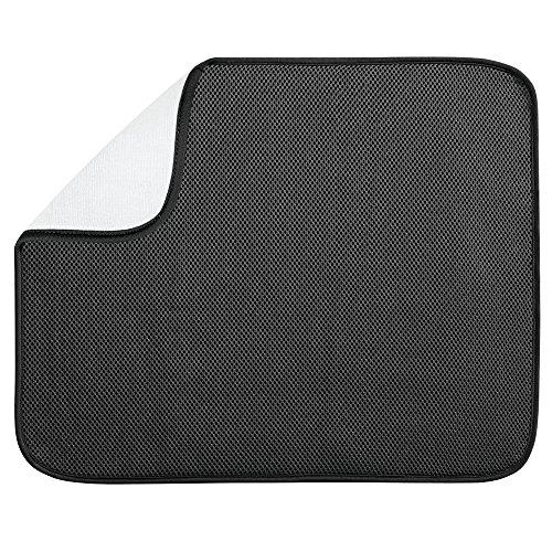 InterDesign iDry tapis de sechage, grand tapis égouttoir vaisselle en polyester, tapis évier fin pour un séchage rapide de la vaisselle, noir/blanc