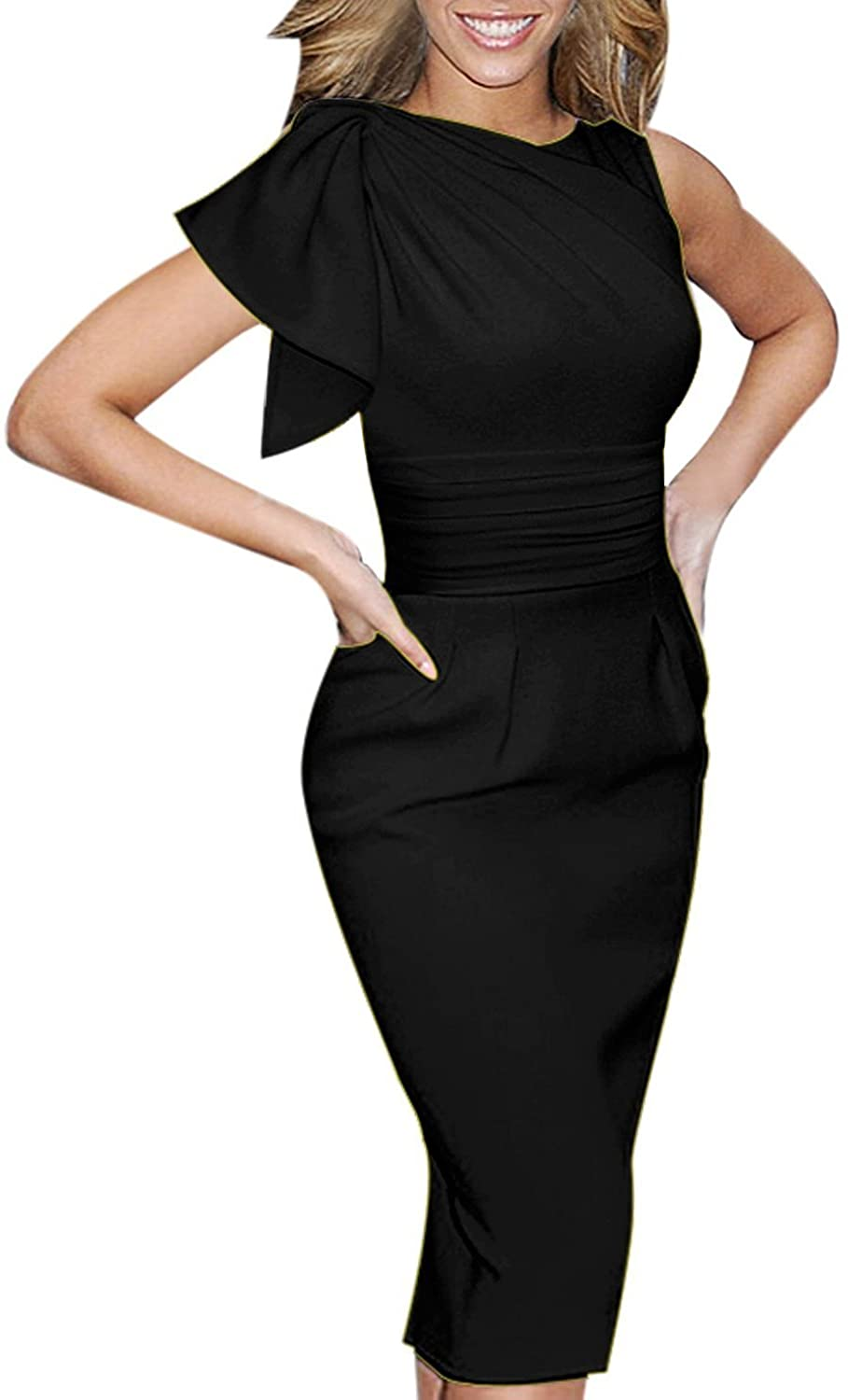 Inshine Women Elegant Ruched Bodycon Business Cocktail Dresses