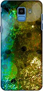 AMZER Slim Fit Handcrafted Designer Printed Snap On Hard Shell Case Back Cover Skin for Samsung Galaxy J6 (2018) - Lady Bug - Black Dots On Blue and Gold Glitter HD Color, Ultra Light Back Case