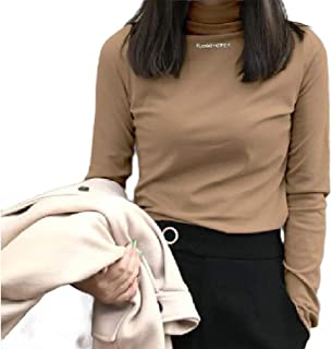 Howely Women's Mock Neck Long Sleeve Slim Fit Top Embroidered Pullover Shirts