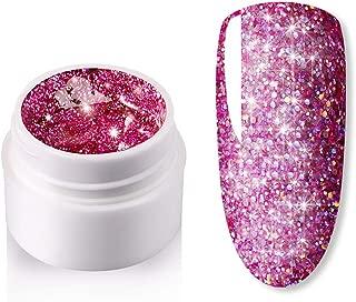 Diamond Nail Gel,5ml Shining Long Lasting Manicure DIY Semi Transparent Glitter Sequins Nail Polish Nail Art Laquer Super Platinum Paint Gel(P284)