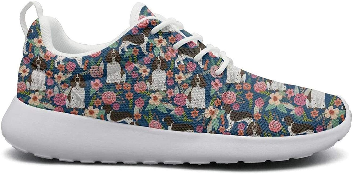 Eoyles gy English Springer Spaniel and Retro Floral Women Girls Slip Resistant Lightweight Running shoes