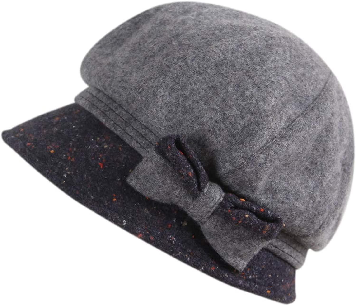 677888 Wool Hat for Women Beret Autumn and Winter Adjustable Fashion Cute Bows England Ear Predectors