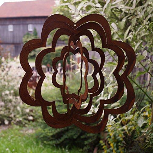 Rostalgie Edelrost Windspiel Spirale Blume groß D27 cm Gartendekoration Fensterschmuck Hänger