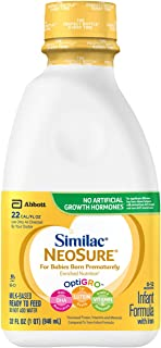 Similac NeoSure Infant Formula with Iron, For Babies Born Prematurely, Ready-to-Feed bottles, 1 qt (Pack of 6)